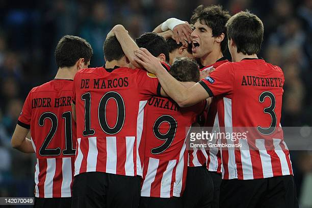 Fernando Llorente of Bilbao celebrates with teammates after scoring his team's opening goal during the UEFA Europa Leauge quarter final first leg...