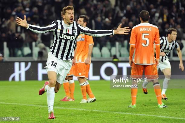 Fernando Llorente of Juventus celebrates after scoring the opening goal during the Serie A match between Juventus and Udinese Calcio at Juventus...