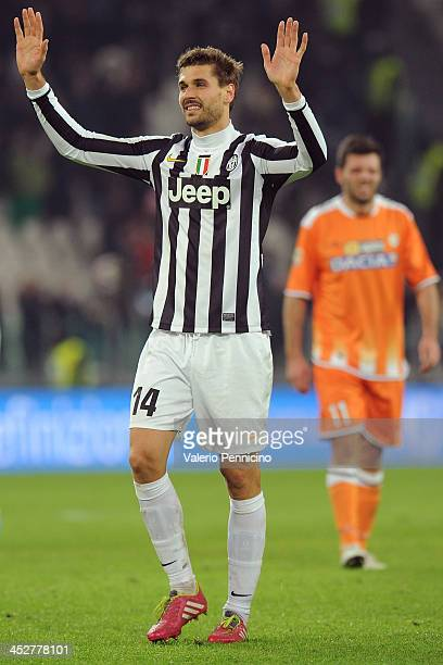 Fernando Llorente of Juventus celebrates victory at the end of the Serie A match between Juventus and Udinese Calcio at Juventus Arena on December 1...
