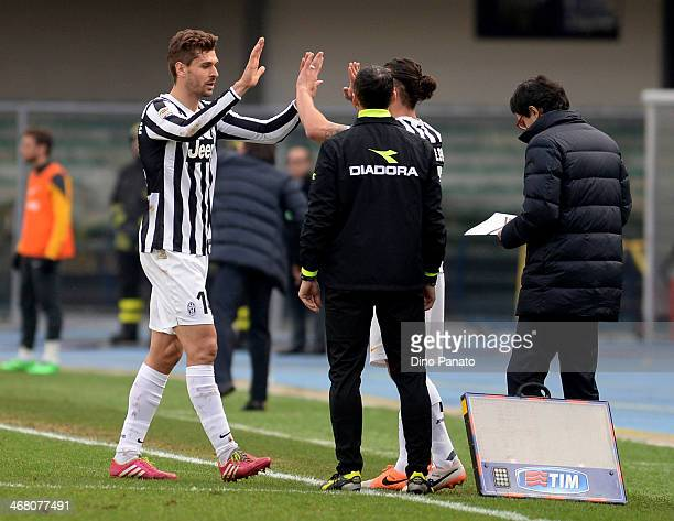 Fernando Llorente of Juventus leaves the field as he is substituted for Pablo Osvaldo during the Serie A match between Hellas Verona FC and Juventus...