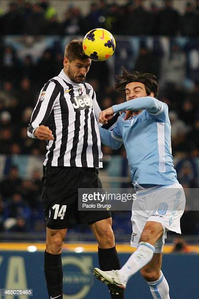 Fernando Llorente of Juventus scores the first team's goal during the Serie A match between SS Lazio and Juventus at Stadio Olimpico on January 25...