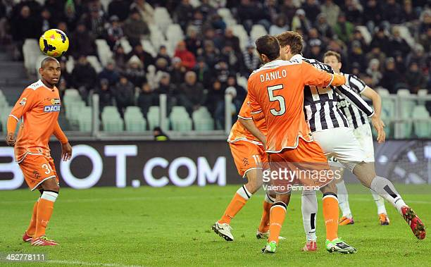 Fernando Llorente of Juventus scores the opening goal during the Serie A match between Juventus and Udinese Calcio at Juventus Arena on December 1...