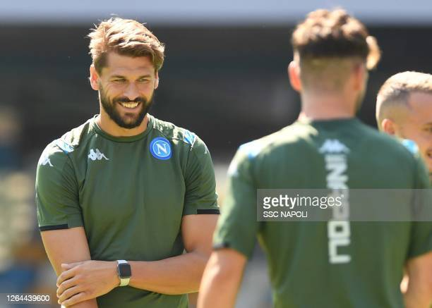 Fernando Llorente of Napoli attends a training session during the UEFA Champions League round of 16 second leg match between FC Barcelona and SSC...