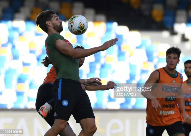 Fernando Llorente of Napoli during a Napoli training session on June 12 2020 in Naples Italy