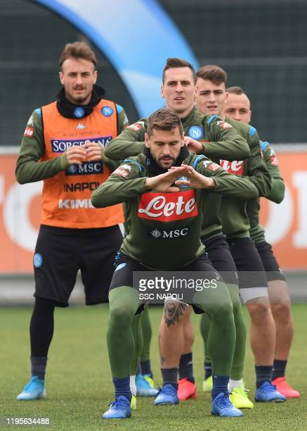 Fernando Llorente of Napoli during training on January 24 2020 in Naples Italy