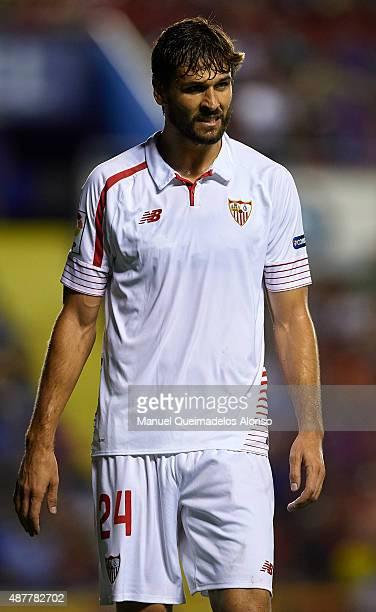 Fernando Llorente of Sevilla reacts during the La Liga match between Levante UD and Sevilla FC at Ciutat de Valencia Stadium on September 11 2015 in...