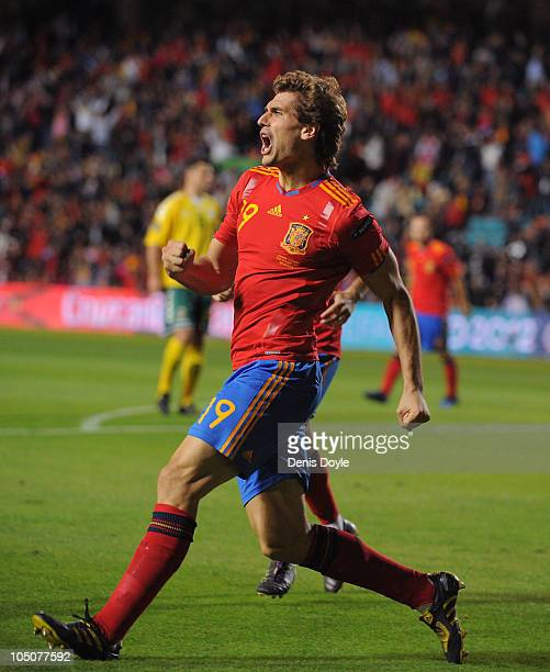Fernando Llorente of Spain celebrates after scoring his team's first goal during the EURO 2012 Qualifying Group I match between Spain and Lithuania...
