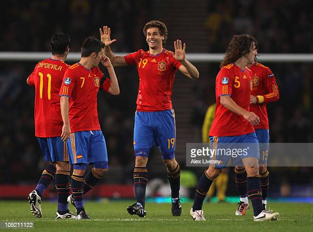 Fernando Llorente of Spain celebrates after scoring the winning goal during the UEFA EURO 2012 Group I Qualifier match between Scotland and Spain at...