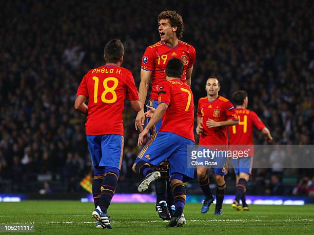 Fernando Llorente of Spain celebrates his goal during the UEFA EURO 2012 Group I qualifying match between Scotland and Spain at Hampden Park on...
