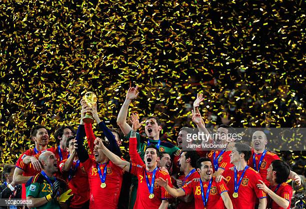 Fernando Llorente of Spain celebrates with team mates as he lifts the World Cup during the 2010 FIFA World Cup South Africa Final match between...