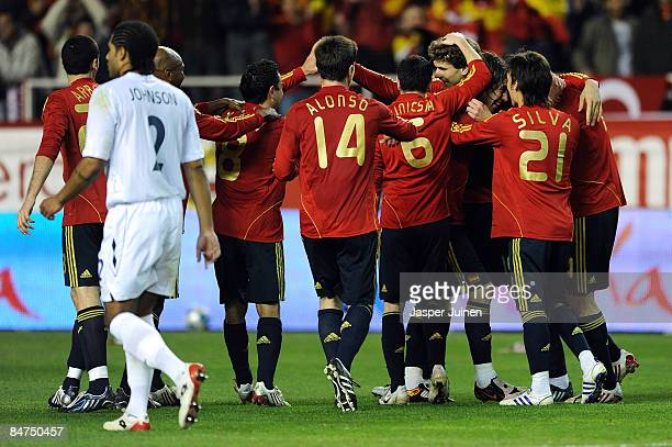 Fernando Llorente of Spain is congratulated after scoring the second goal of the game of England during the International Friendly between Spain and...