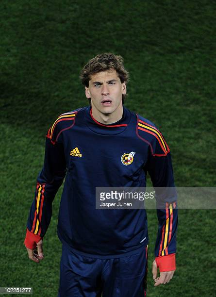 Fernando Llorente of Spain looks up during a training session at Ellis Park Stadium on June 20 2010 in Johannesburg South Africa