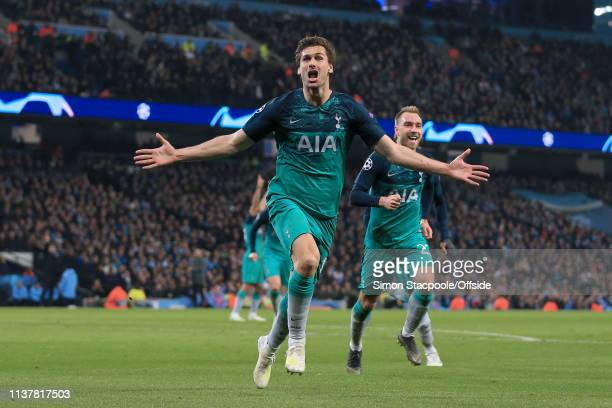 Fernando Llorente of Spurs celebrates after scoring their 3rd goal during the UEFA Champions League Quarter Final second leg match between Manchester...