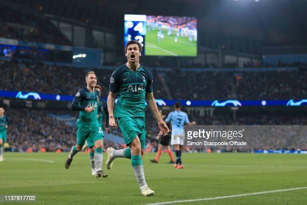 Fernando Llorente of Spurs celebrates after scoring their 3rd goal during the UEFA Champions League Quarter Final second leg match between Manchester...