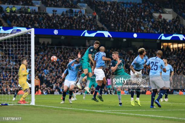 Fernando Llorente of Spurs scores their 3rd goal during the UEFA Champions League Quarter Final second leg match between Manchester City and...