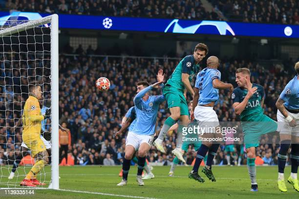 Fernando Llorente of Spurs scores their 3rd goal during the UEFA Champions League Quarter Final second leg match between Manchester City and...