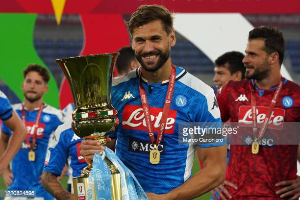 Fernando Llorente of Ssc Napoli celebrate at the end of the Coppa Italia Final match between Ssc Napoli and Juventus FcSsc Napoli wins 42 over...