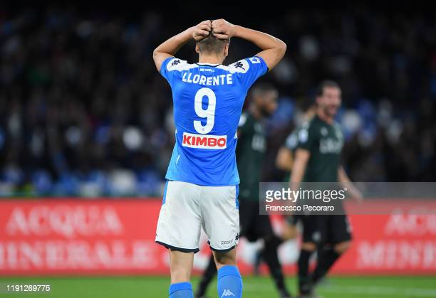 Fernando Llorente of SSC Napoli stands disappointed during the Serie A match between SSC Napoli and Bologna FC at Stadio San Paolo on December 01...