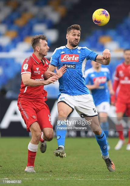 Fernando Llorente of SSC Napoli vies with Norbert Gyomber of Perugia during the Coppa Italia match between SSC Napoli and Perugia on January 14 2020...