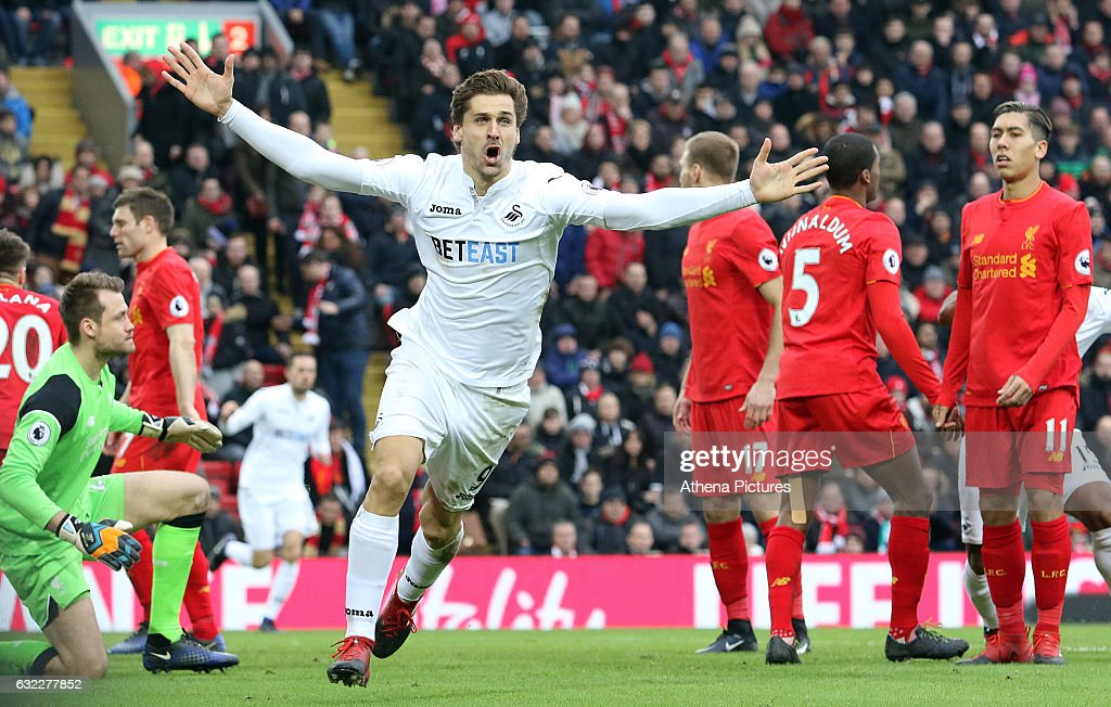 Fernando Llorente of Swansea City celebrates scoring his sides first goal of the match during the Premier League match between Liverpool and Swansea City at Anfield on January 21, 2017 in Liverpool, England.