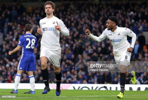 Fernando Llorente of Swansea City celebrates scoring his sides first goal of the match during the Barclays Premier League match between Chelsea and...