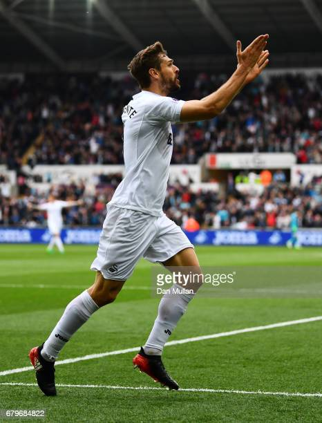 Fernando Llorente of Swansea City celebrates scoring his sides first goal during the Premier League match between Swansea City and Everton at the...