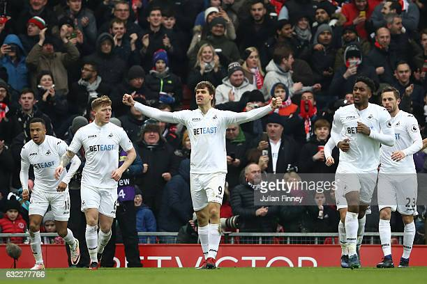 Fernando Llorente of Swansea City celebrates scoring his sides second goal during the Premier League match between Liverpool and Swansea City at...
