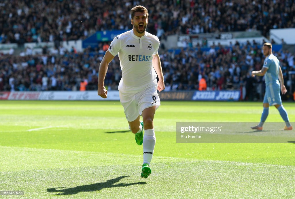 Fernando Llorente of Swansea City celebrates scoring the opening goal during the Premier League match between Swansea City and Stoke City at the Liberty Stadium on April 22, 2017 in Swansea, Wales.