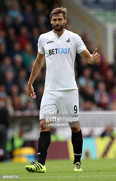 Fernando Llorente of Swansea City during the Premier League match between Burnley and Cardiff City at Turf Moor on August 13 2016 in Burnley England