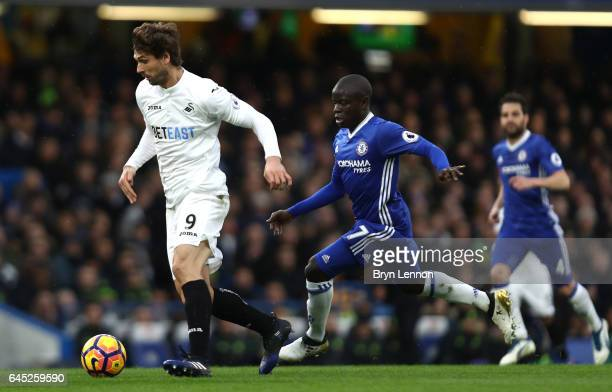 Fernando Llorente of Swansea City is put under pressure from N'Golo Kante of Chelsea during the Premier League match between Chelsea and Swansea City...
