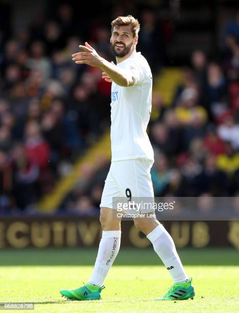 Fernando Llorente of Swansea City looks dejected during the Premier League match between Watford and Swansea City at Vicarage Road on April 15 2017...