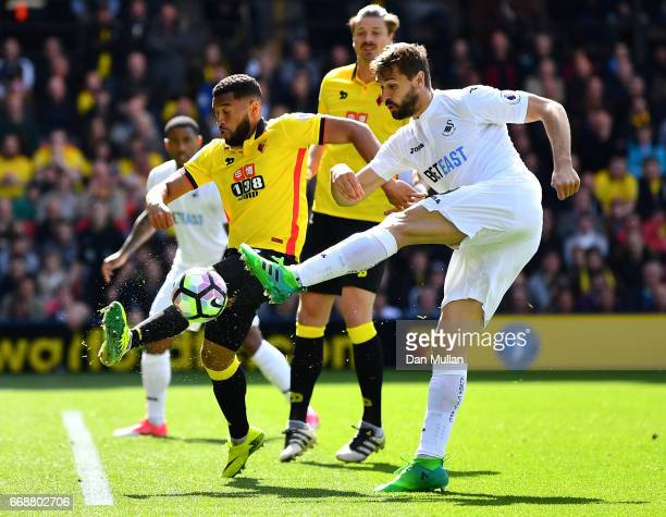 Fernando Llorente of Swansea City shoots during the Premier League match between Watford and Swansea City at Vicarage Road on April 15 2017 in...