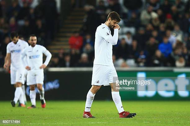 Fernando Llorente of Swansea City shows dejection after AFC Bournemouth's second goal during the Premier League match between Swansea City and AFC...