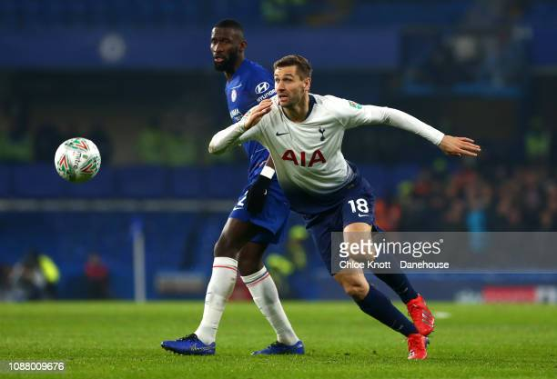 Fernando Llorente of Tottenham Hotspur and Antonio Rudiger of Chelsea FC compete for the ball during the Carabao Cup SemiFinal Second Leg match...
