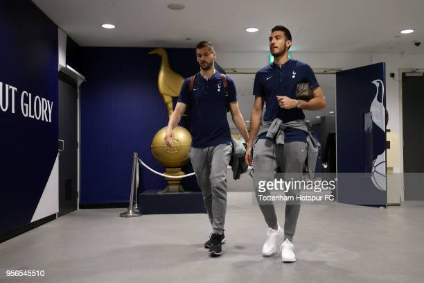 Fernando Llorente of Tottenham Hotspur and Paulo Gazzaniga of Tottenham Hotspur arrive at the stadium prior to the Premier League match between...