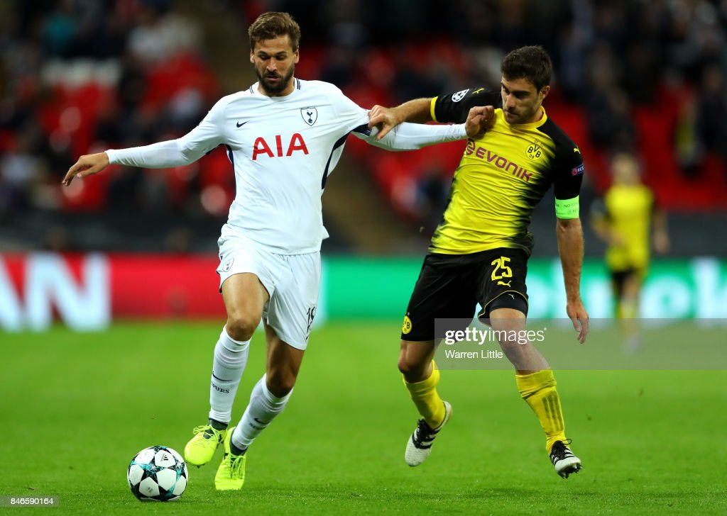 Fernando Llorente of Tottenham Hotspur and Sokratis Papastathopoulos of Borussia Dortmund battle for possession during the UEFA Champions League group H match between Tottenham Hotspur and Borussia Dortmund at Wembley Stadium on September 13, 2017 in London, United Kingdom.