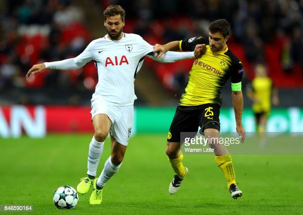 Fernando Llorente of Tottenham Hotspur and Sokratis Papastathopoulos of Borussia Dortmund battle for possession during the UEFA Champions League...