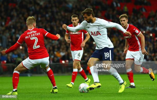 Fernando Llorente of Tottenham Hotspur attempts to get pat Jason McCarthy of Barnsley during the Carabao Cup Third Round match between Tottenham...