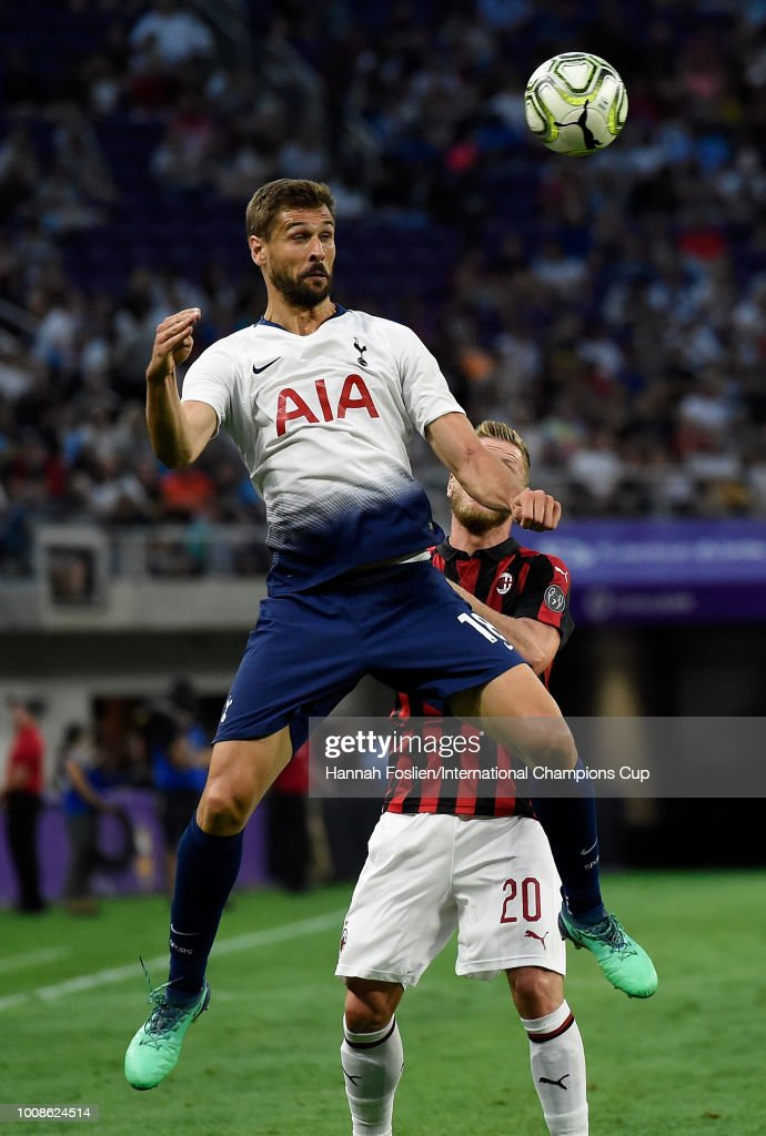 Fernando Llorente #18 of Tottenham Hotspur battles for a header against Ignazio Abate #20 of AC Milan in the first half during the International Champions Cup 2018 at U.S. Bank Stadium on July 31, 2018 in Minneapolis, Minnesota.