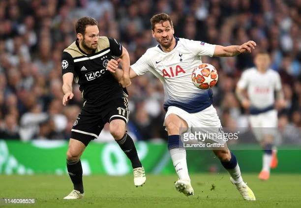 Fernando Llorente of Tottenham Hotspur battles with Daley Blind of Ajax during the UEFA Champions League Semi Final first leg match between Tottenham...