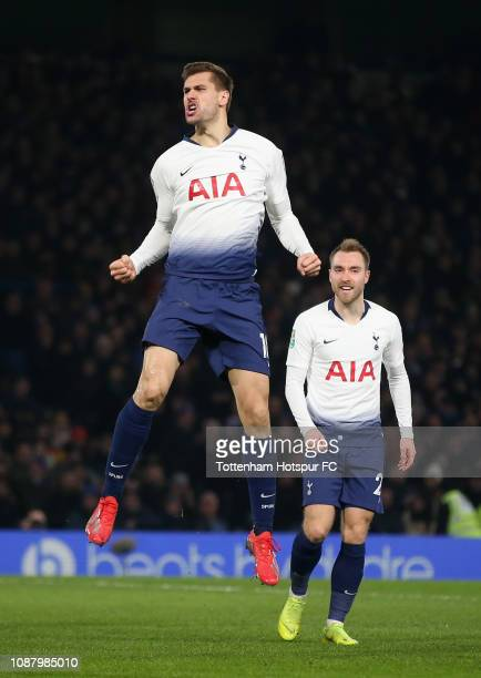 Fernando Llorente of Tottenham Hotspur celebrates after scoring his sides first goal during the Carabao Cup SemiFinal Second Leg match between...