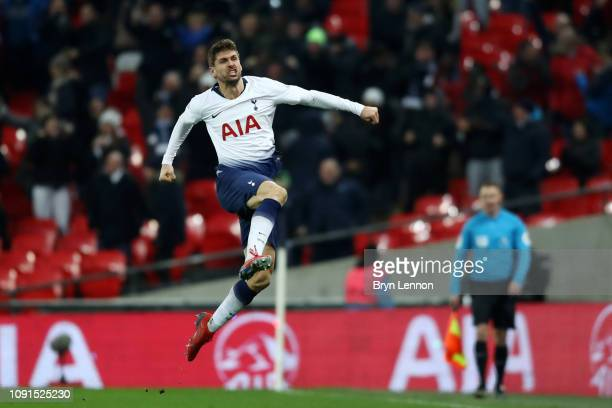 Fernando Llorente of Tottenham Hotspur celebrates after scoring his team's second goal during the Premier League match between Tottenham Hotspur and...