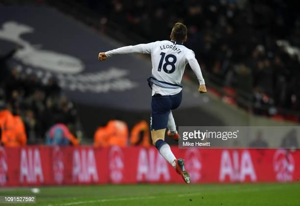 Fernando Llorente of Tottenham Hotspur celebrates after scoring his team's second goal during the Premier League match between Tottenham Hotspur and...