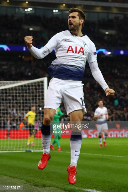 Fernando Llorente of Tottenham Hotspur celebrates after scoring his team's third goal during the UEFA Champions League Round of 16 First Leg match...