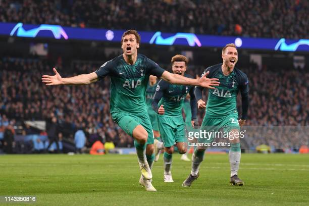 Fernando Llorente of Tottenham Hotspur celebrates after scoring his team's third goal during the UEFA Champions League Quarter Final second leg match...