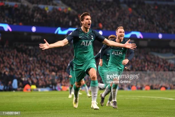 Fernando Llorente of Tottenham Hotspur celebrates after scoring his team's third goal during the UEFA Champions League Quarter Final second leg match...