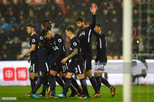 Fernando Llorente of Tottenham Hotspur celebrates after scoring his sides first goal with his Tottenham Hotspur team mates during the Premier League...