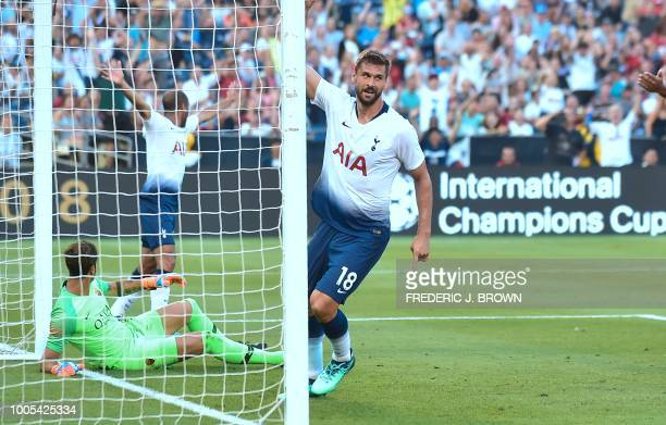 Fernando Llorente of Tottenham Hotspur celebrates after scoring past AS Roma goalkeeper Antonio Mirante during their International Champions Cup...