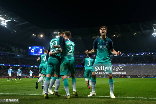 Fernando Llorente of Tottenham Hotspur celebrates scoring his teams third goal during the UEFA Champions League Quarter Final second leg match...