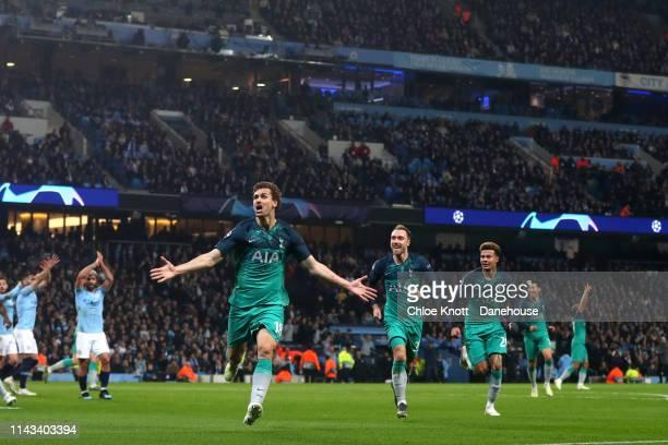 Fernando Llorente of Tottenham Hotspur celebrates scoring his teams third goal during the UEFA Champions League Quarter Final second leg match...